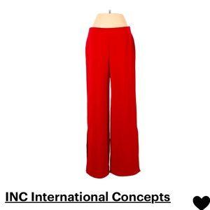 INC Red Wide Leg Dress Pants Side Slit